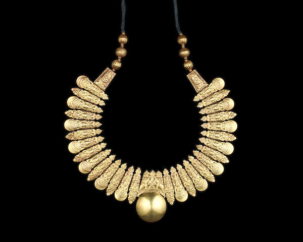 A repoussé gold marriage Necklace (Tali) South India, early 19th Century