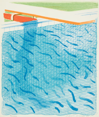 David Hockney R.A. (British, born 1937) Pool Made with Paper and Blue Ink for Book (MCA Tokyo 234) Lithograph printed in colours, 1980, on Arches cover paper, signed and dated in pencil, numbered 86/1000, published by Tyler Graphics, Ltd., Mount Kisco, New York, 1980, with their blindstamp; with the accompanying book Paper Pools, with title, text and justification, signed by the artist on the justification in red ink, copy 86 of 1000, 265 x 225mm (10 1/8 x 8 7/8in)(unframed & Vol)