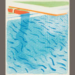 David Hockney R.A. (British, born 1937) Pool Made with Paper and Blue Ink for Book (MCA Tokyo 234)  Lithograph in colours, 1980, on Arches cover paper, signed and dated in pencil, numbered 86/1000, published by Tyler Graphics, Ltd., Mount Kisco, New York, 1980, with their blindstamp; with the accompanying book Paper Pools, with title, text and justification, signed by the artist on the justification in red ink, copy 86 of 1000, 265 x 225mm (10 1/8 x 8 7/8in)(unframed & Vol)
