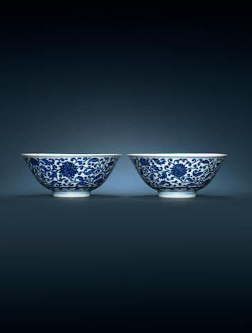 A pair of blue and white bowls Yongzheng six-character marks and of the period