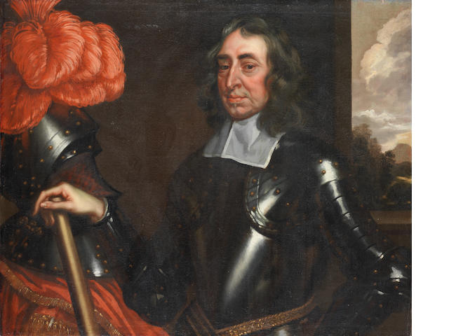 Circle of Robert Walker (circa 1607-circa 1658 London) Portrait of a gentleman, half-length, in armour standing in a lodge, with a landscape beyond