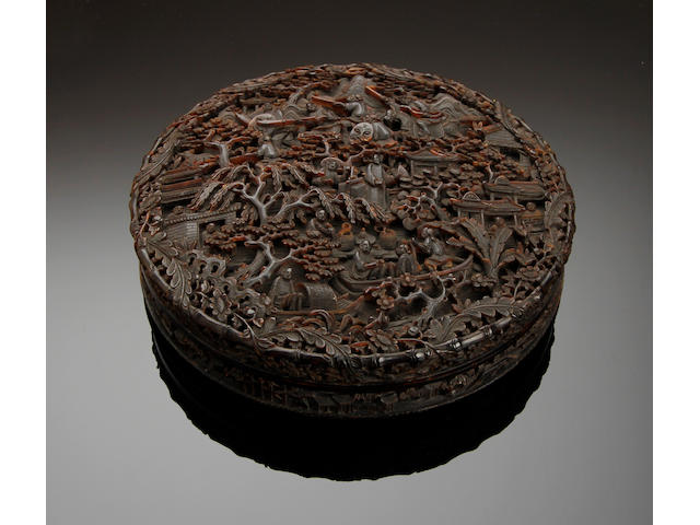 A Chinese carved tortoiseshell box and cover Late 19th Century