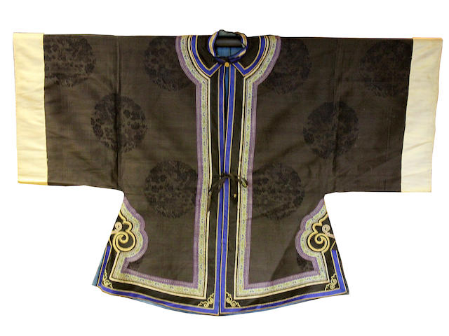 A Chinese kesi-weave dragon panel and a damask robe