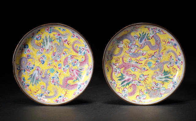 A pair of Chinese enamel dragon dishes