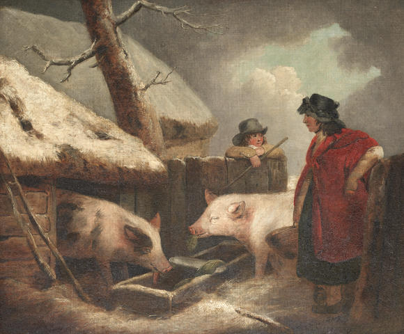 Attributed to George Morland (London 1763-1804) Peasants attending to their pigs