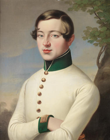Austrian School, circa 1830 Portrait of a young officer of an Austrian infantry regiment, half-length, in a white coat with green collar and cuffs