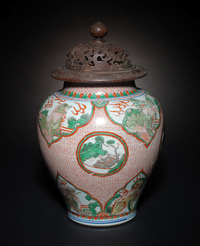 A wucai baluster vase 17th century
