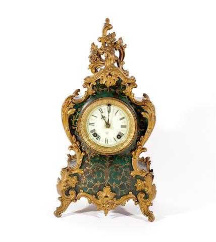 A late 19th century Rococo style mantel clock Ansonia Clock Company