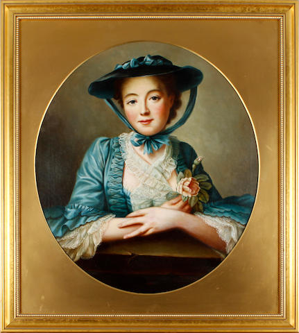 English School, 19th Century Portrait of a lady, in blue bonnet and dress, holding a rose