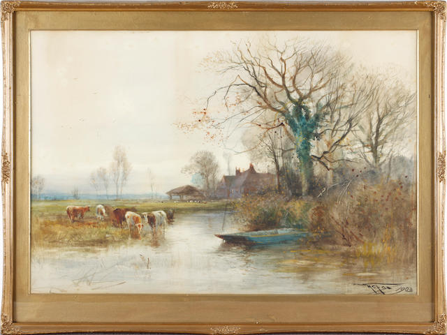Henry Charles Fox (British, 1860-c.1913) Cattle crossing a river; and 'A Silvery River' (a pair)