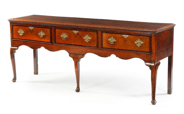 A George III oak low dresser