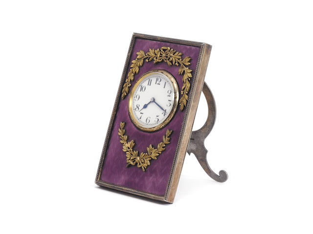 A enamelled time piece the gilt metalware mounts bearing pseudo Russian marks