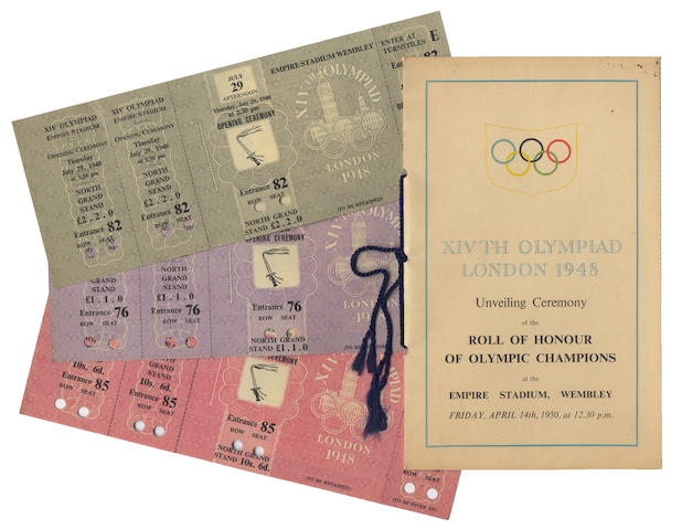 Programmes and Ephemera A large collection of Olympic programmes, tickets and booklets, predominantly 1948 Olympics