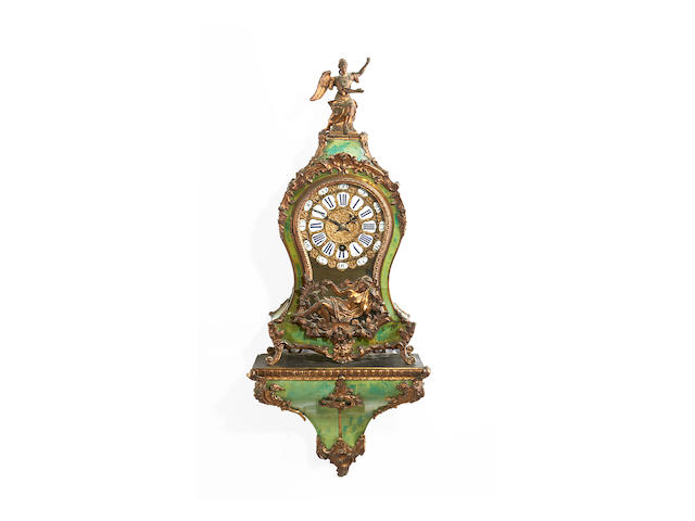 A mid 18th century French stained horn and gilt bronze mounted bracket timepiece