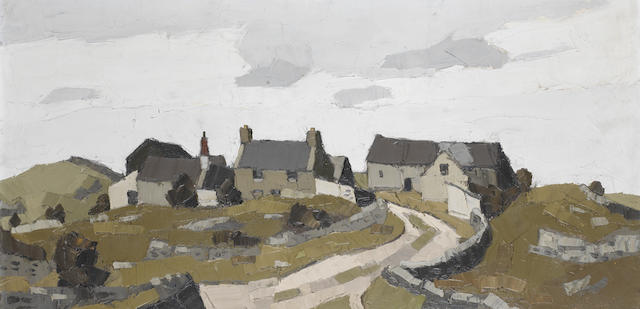 Sir Kyffin Williams R.A. (British, 1918-2006) Farm Near Llangefni 46 x 92 cm. (18 1/8 x 36 1/4 in.)