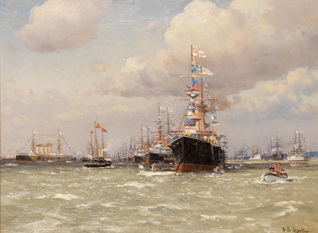Eduardo Federico de Martino (Italian, 1838-1912) The Diamond Jubilee Fleet Review of 1897