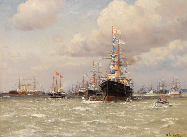 Eduardo Federico de Martino (Italian, 1838-1912) A Fleet review ??