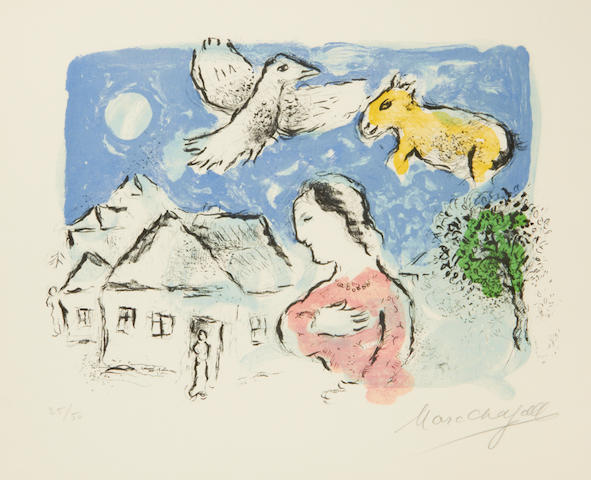 Marc Chagall (Russian/French, 1887-1985) The Village (Mourlot 917a) Lithograph printed in colours, 1977, on Arches, signed and numbered 25/50, published by Editions Maeght, Paris, 300 x 420mm (11 3/4 x 16 1/2in)(I)