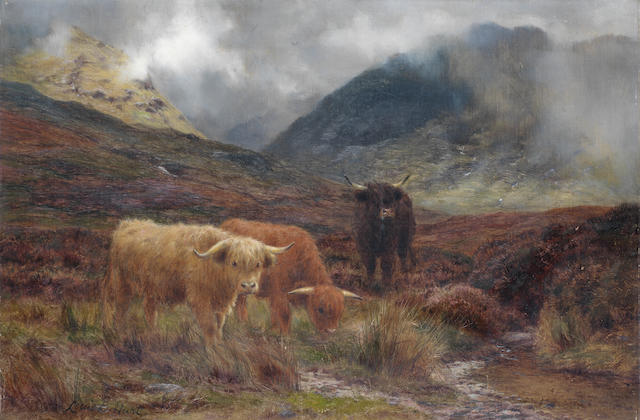 Louis Bosworth Hurt (British, 1856-1929) Highland cattle 30.5 x 46 cm. (12 x 18 in.)