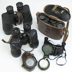 Four pairs of binoculars, a pocket barometer and a compass
