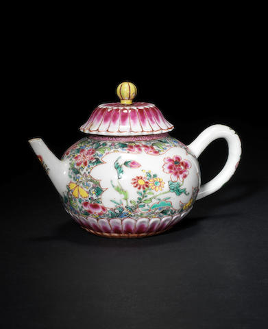 A famille rose teapot and cover 18th century