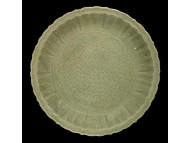 Large celadon glazed charger, 44cm diameter