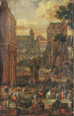 Pieter Casteels II (active Antwerp 2nd half of the 17th Century) A townscape with figures in a market square