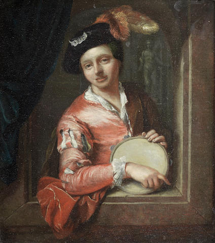 Attributed to Arnold Boonen (Dordrecht 1669-1729 Amsterdam) A young boy holding a tambourine