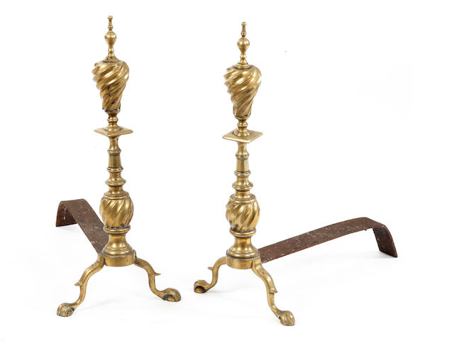 A pair of 19th century brass and iron andirons or firedogs, Dutch