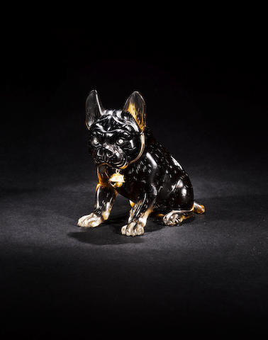 A smoky quartz model of a seated pug dog with diamond set eyes the mount with pseudo Russian marks