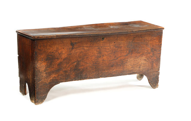 An 18th century elm boarded coffer