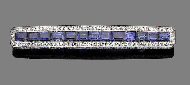 A sapphire and diamond bar brooch