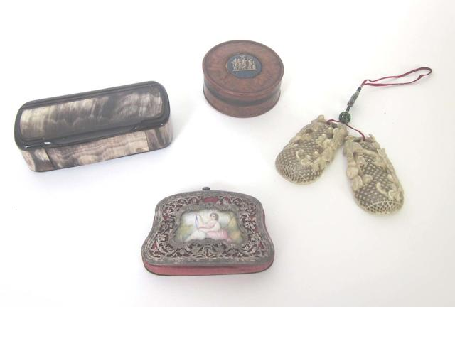 A 19th century French silver and ivory mounted purse unmarked, a Japanese carved ivory box in the form of a pear, a horn snuff box and a burr wood box