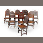 A harlequin set of eight Charles II oak backstools Southern Lancashire/North Cheshire, circa 1680