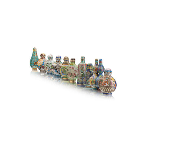 A plique-à-jour enamel snuff bottle and nine other cloisonné snuff bottles 19th/20th century