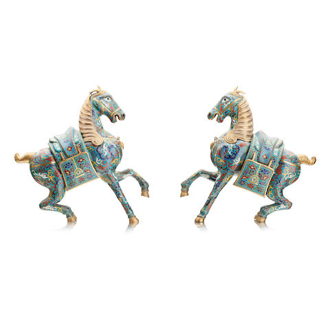 A pair of cloisonné horses 20th century