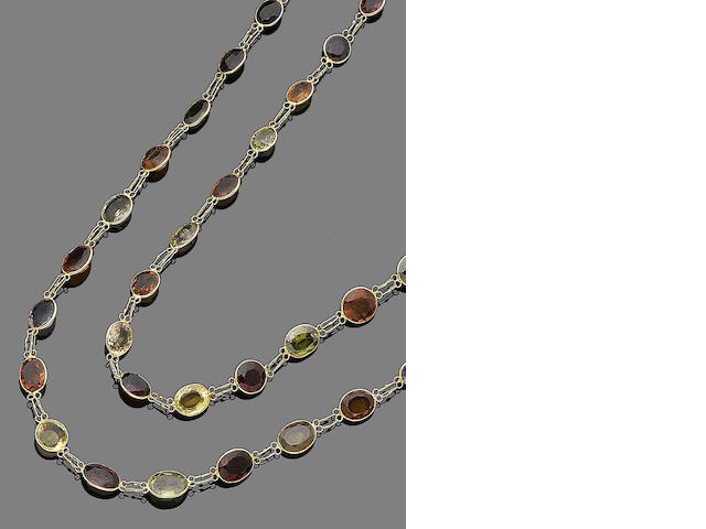 Three gem-set necklaces (3)