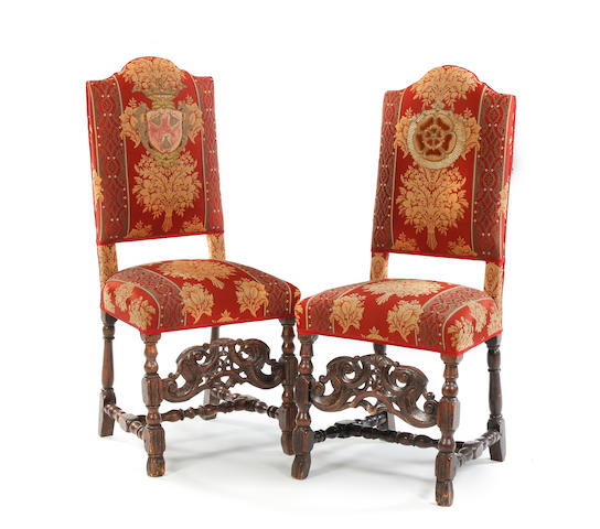 Pair of late 17th century and later beech and upholstered side chairs