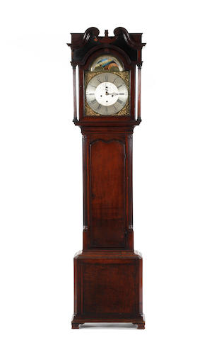 A late George III oak long case clock with eight day movement Anonymous