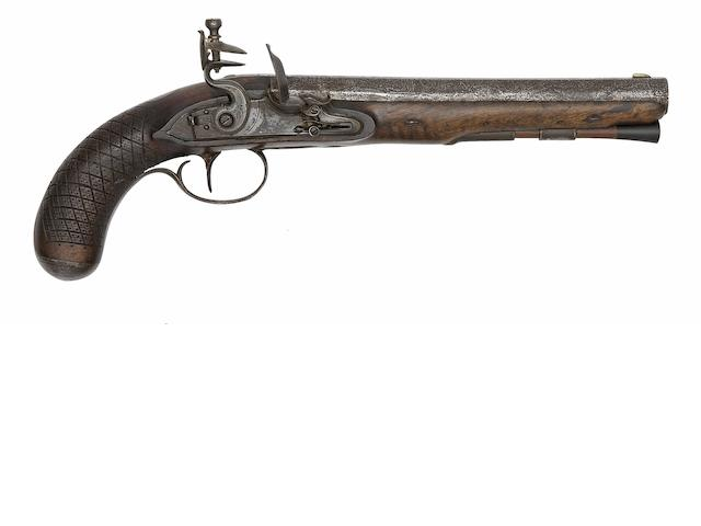 A Flintlock Officer's Pistol Of Carbine Bore