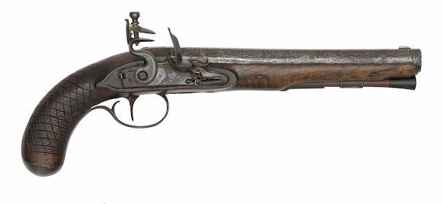 A Flintlock Officer's Pistol Of Carbine Bore