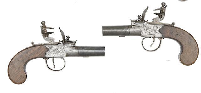 A Pair Of 50-Bore Flintlock Box-Lock Pocket Pistols