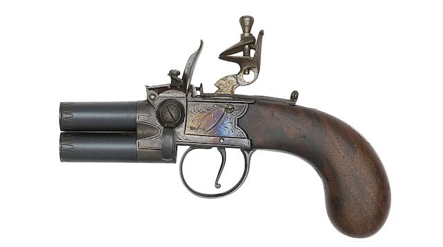 A 100-Bore Flintlock Box-Lock Over-And-Under Tap-Action Pistol