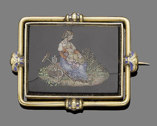 A gold and onyx micromosaic brooch,