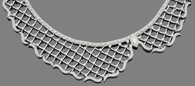 A diamond-set bib necklace