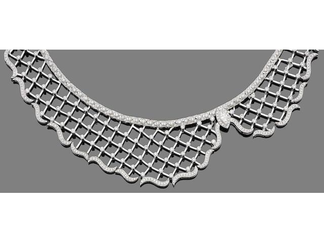 A diamond-set bib necklace