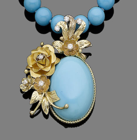A treated turquoise and diamond pendant necklace