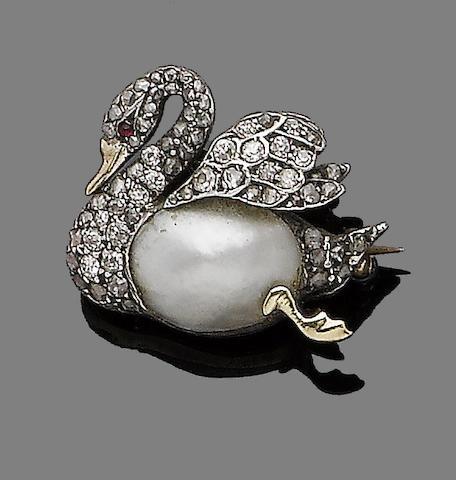 A mabé pearl, ruby and diamond brooch,
