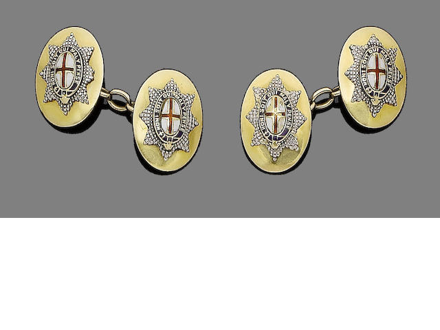 Two pairs of enamel cufflinks (2) (partially illustrated)
