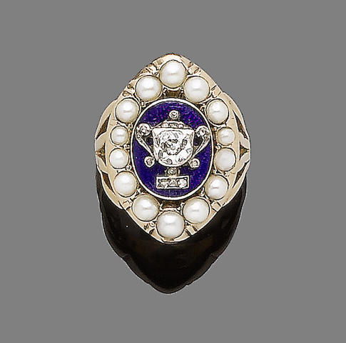 An early 19th century diamond, enamel and cultured half pearl mourning ring